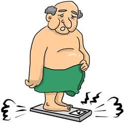 Übergewicht beim mann auf der Waage