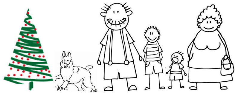 Oma & Opa mit Enkelkinder + Hund + Weihnachtdbaum