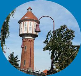 Wasserturm mit einer Höhe von 42,60 Meter an der Kaiserstr. in Lingen