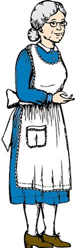 Oma mit ihrer Kittelschürze
