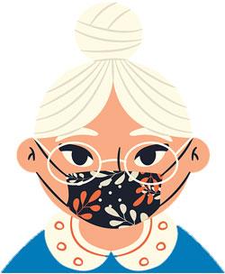 Oma trägt Maske
