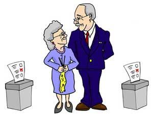 Oma und Opa haben gewählt.